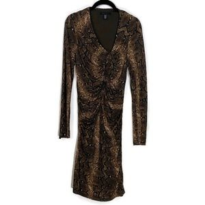 Kenneth Cole Snake Print Ruched Dress Size Medium